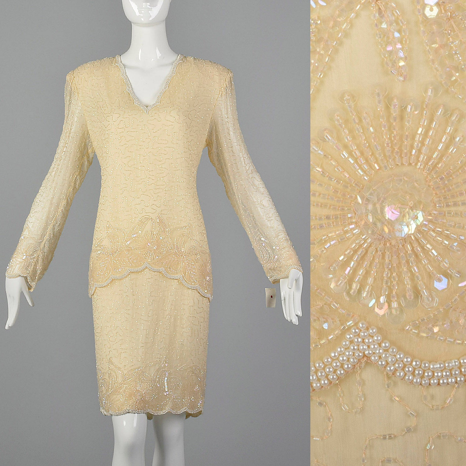 1990s Cream Beaded Dress