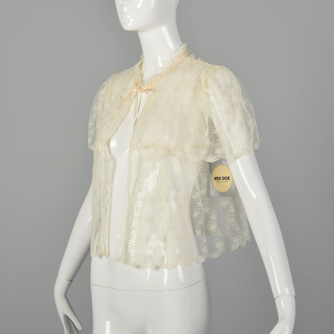 XS Miss Dior Christian Dior 1980s Lace Bed Jacket
