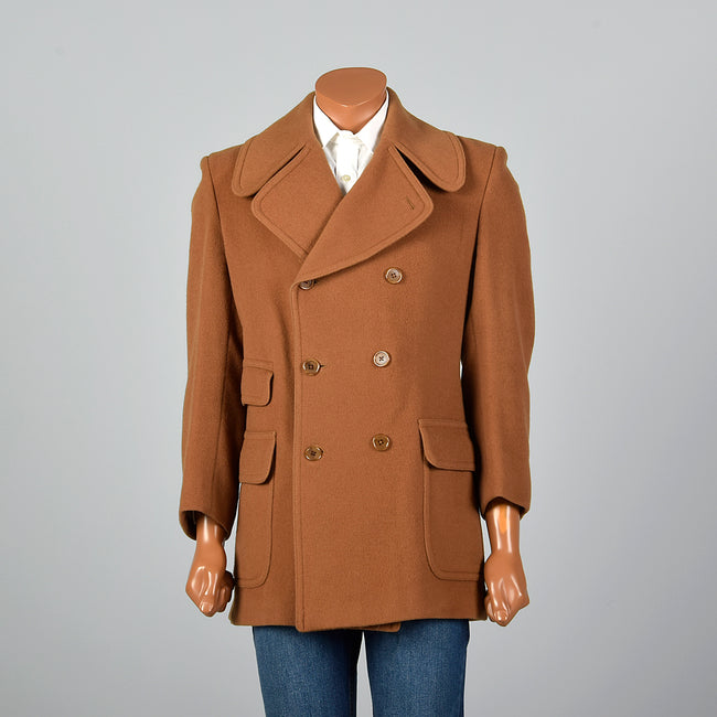1970s Brown Camel Hair and Wool Coat