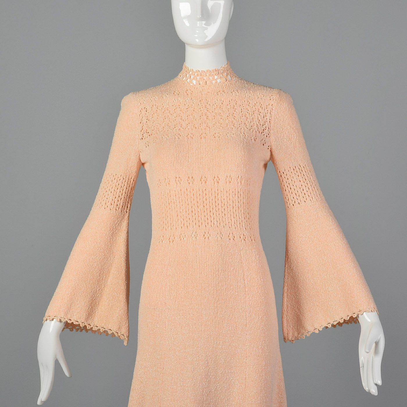 1970s Pink Knit Maxi Dress with Bell Sleeves