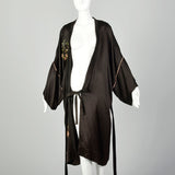 1920s Black Silk Dressing Gown Floral Wreath Appliqués