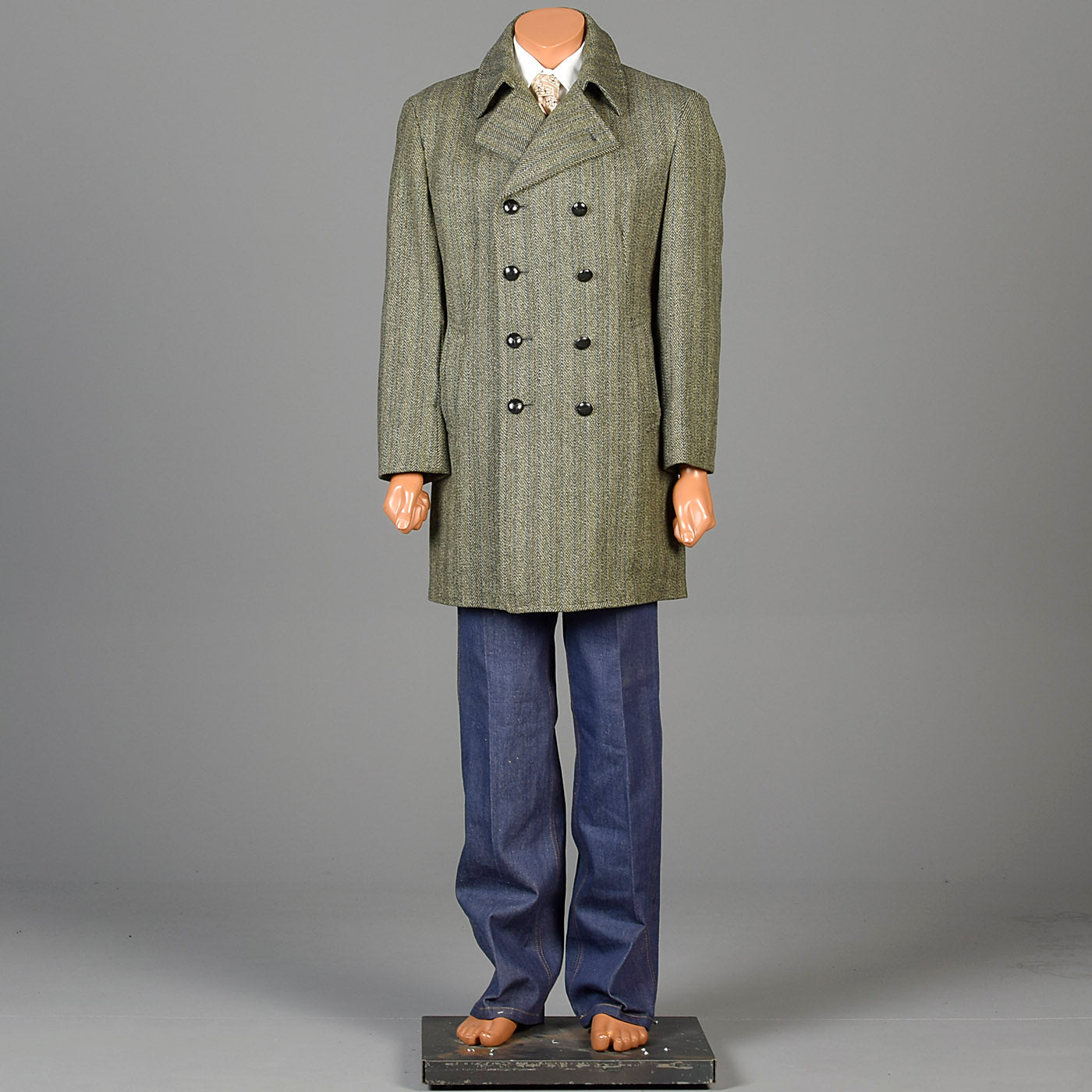 1970s Mens Mod Tweed Winter Coat