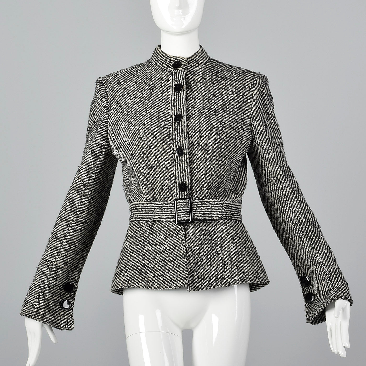 2000s Valentino Black and White Jacket with Belted Waist