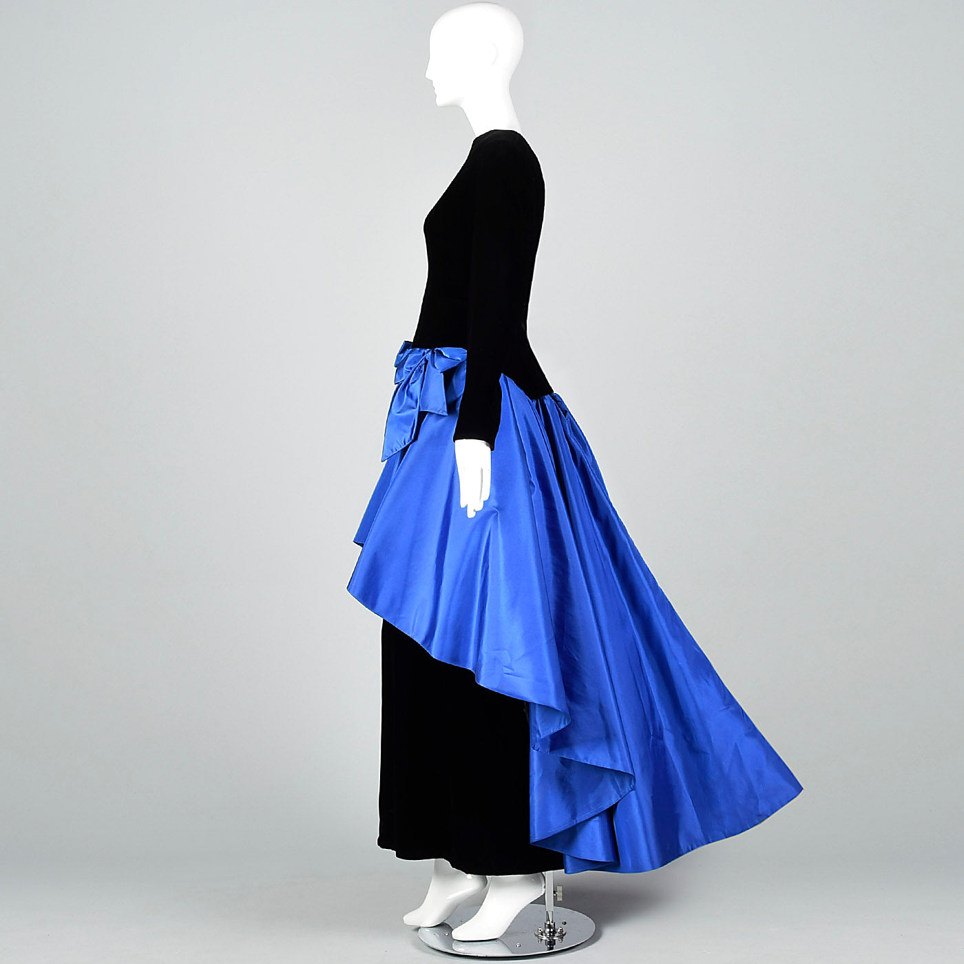 Pilar Rossi Unique Black Velvet Gown with Dramatic Blue Taffeta Peplum