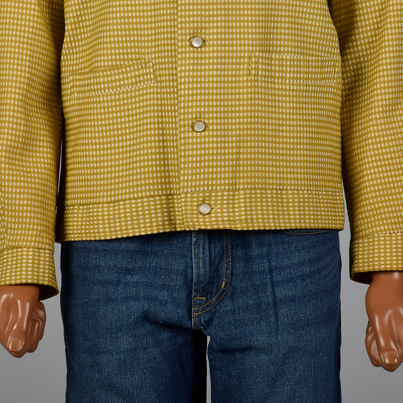 1950s Mens Gold and Cream Textured Check Jacket