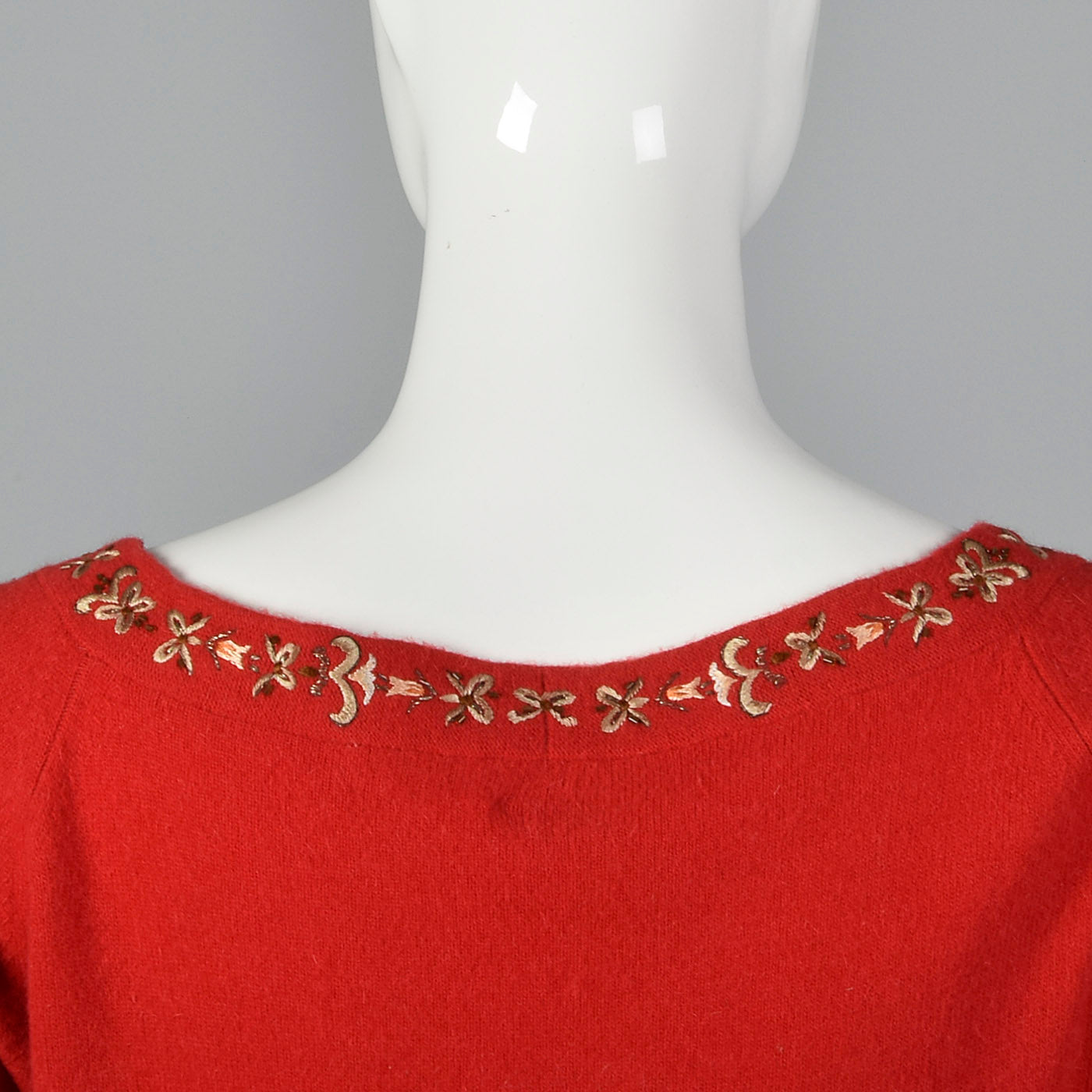 1950s Red Sweater with Metal Thread Trim