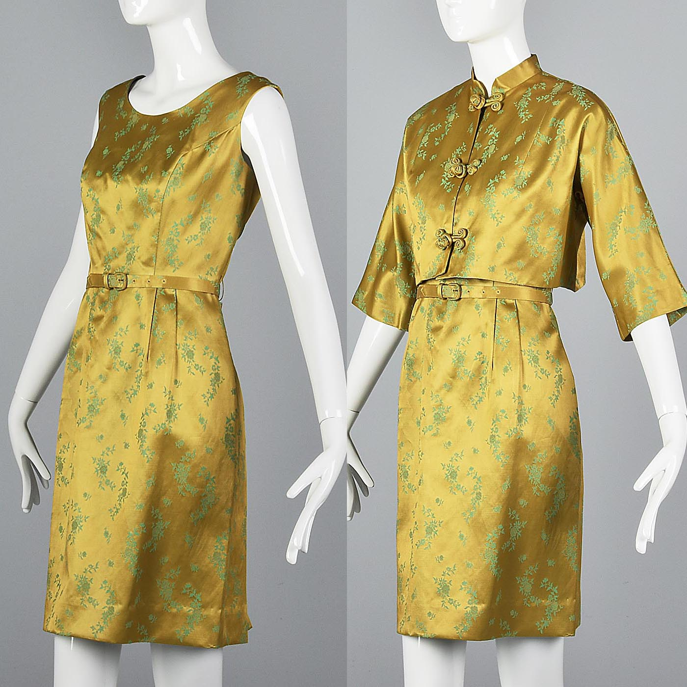 1960s Two Piece Dress  and Jacket Set in Mustard and Green Satin