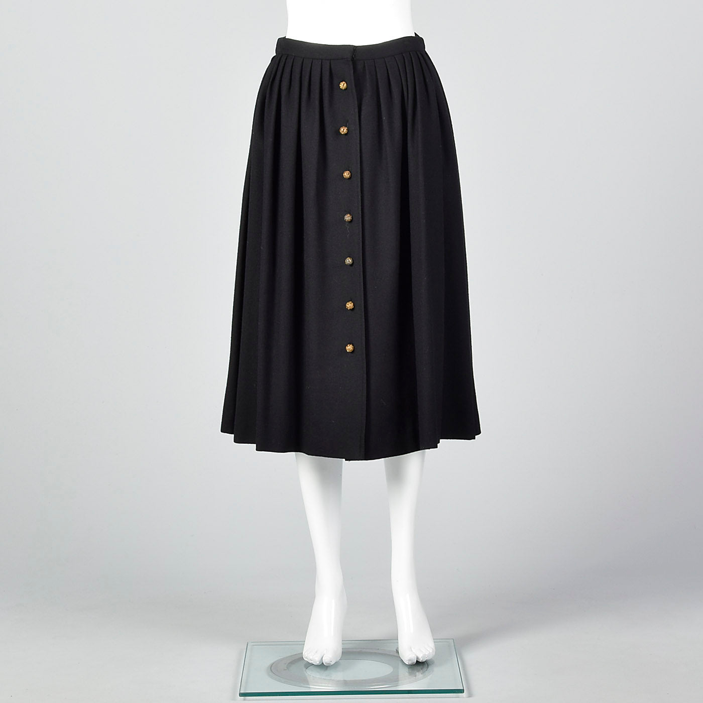 1970s Chloe Timeless  Black Wool Skirt with Gold Buttons, Karl Lagerfeld era
