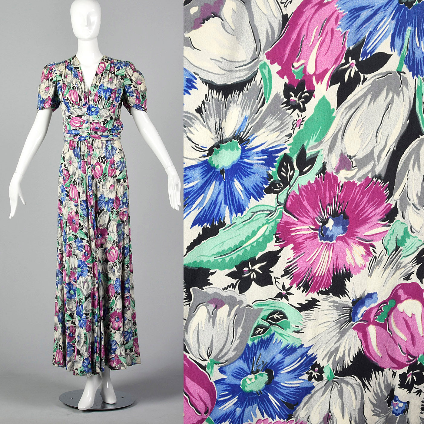 1940s Gorgeous Floral Print Rayon Dress