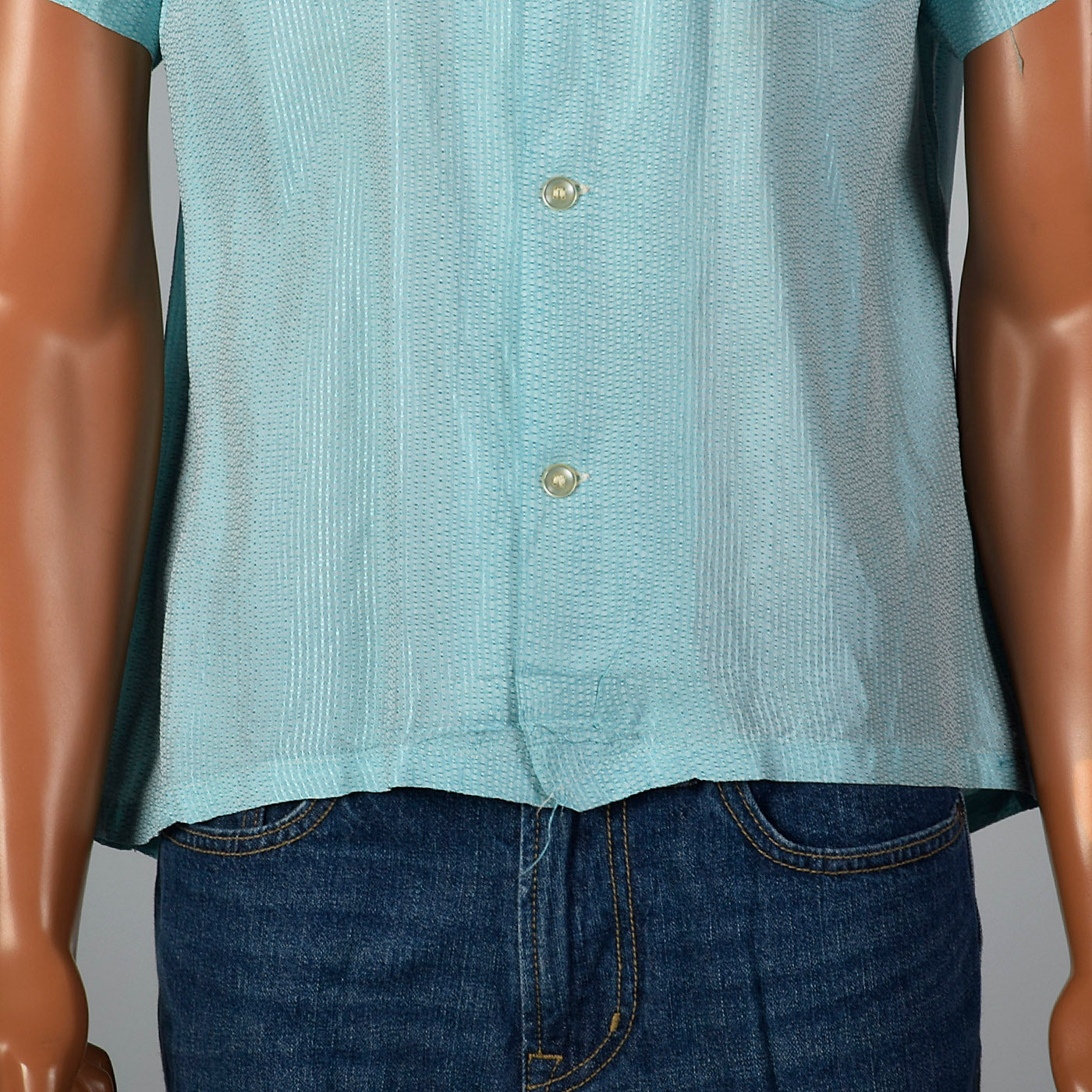 1950s Mens Light Blue Rayon Shirt