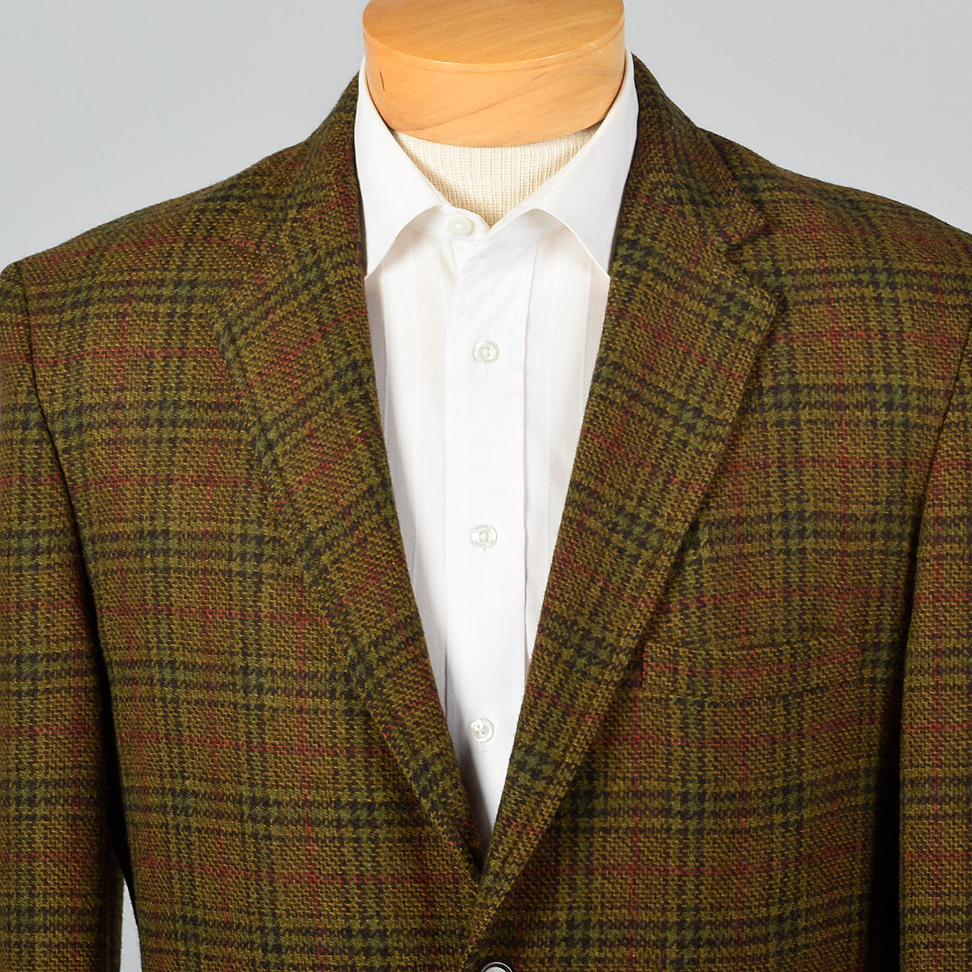 1960s Mens Brown and Red Plaid Jacket