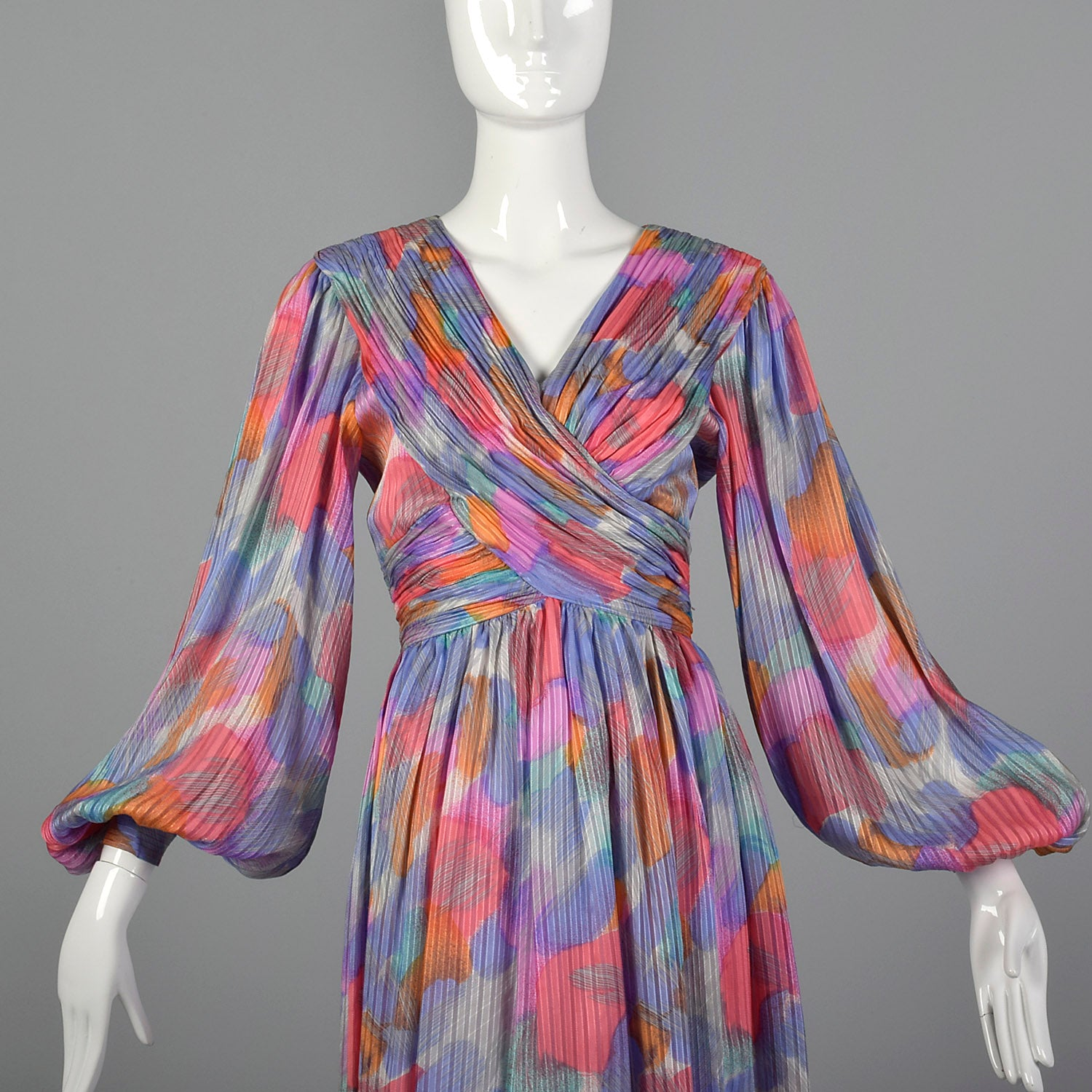 1990s Morton Myles Paint Stroke Silk Dress