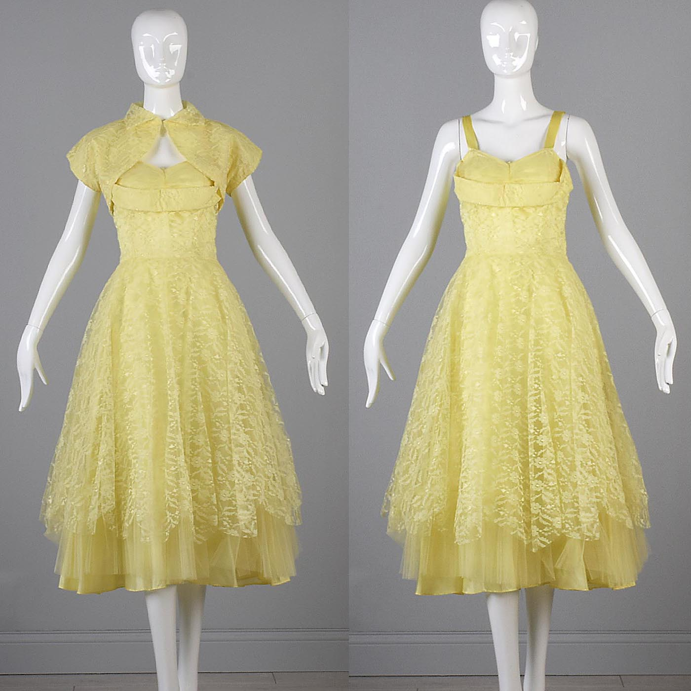 1950s Yellow Lace and Tulle Party Dress