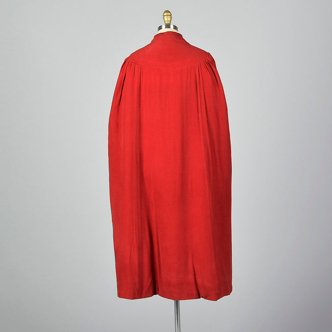 1940s Red Cape with Cocoon Shape