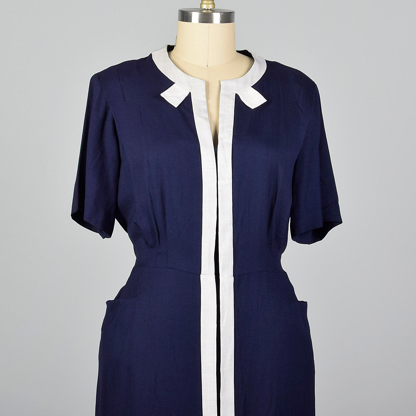 1950s Deadstock Navy Dress with White Trim