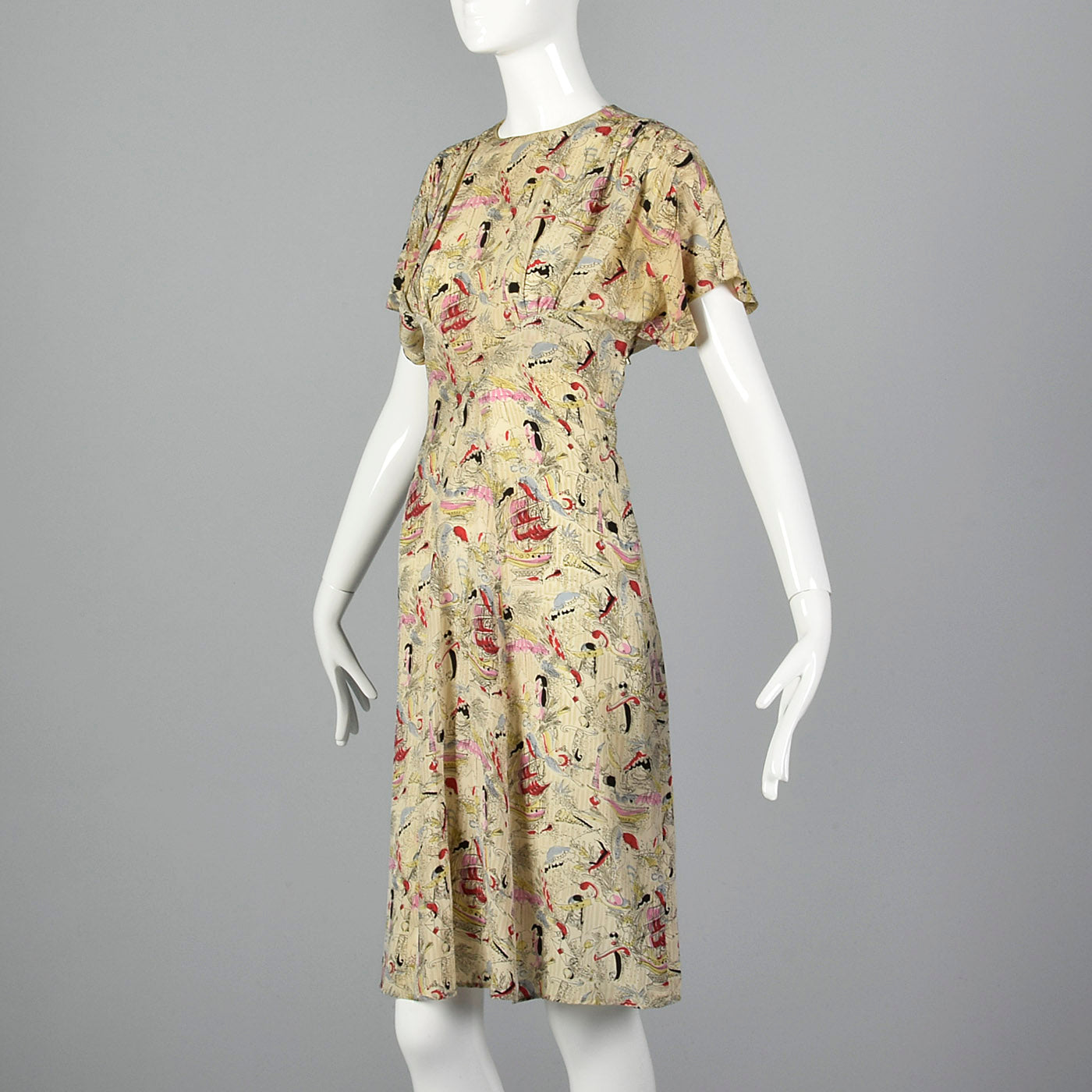 1940s Novelty Print Silk Dress with Neck Tie