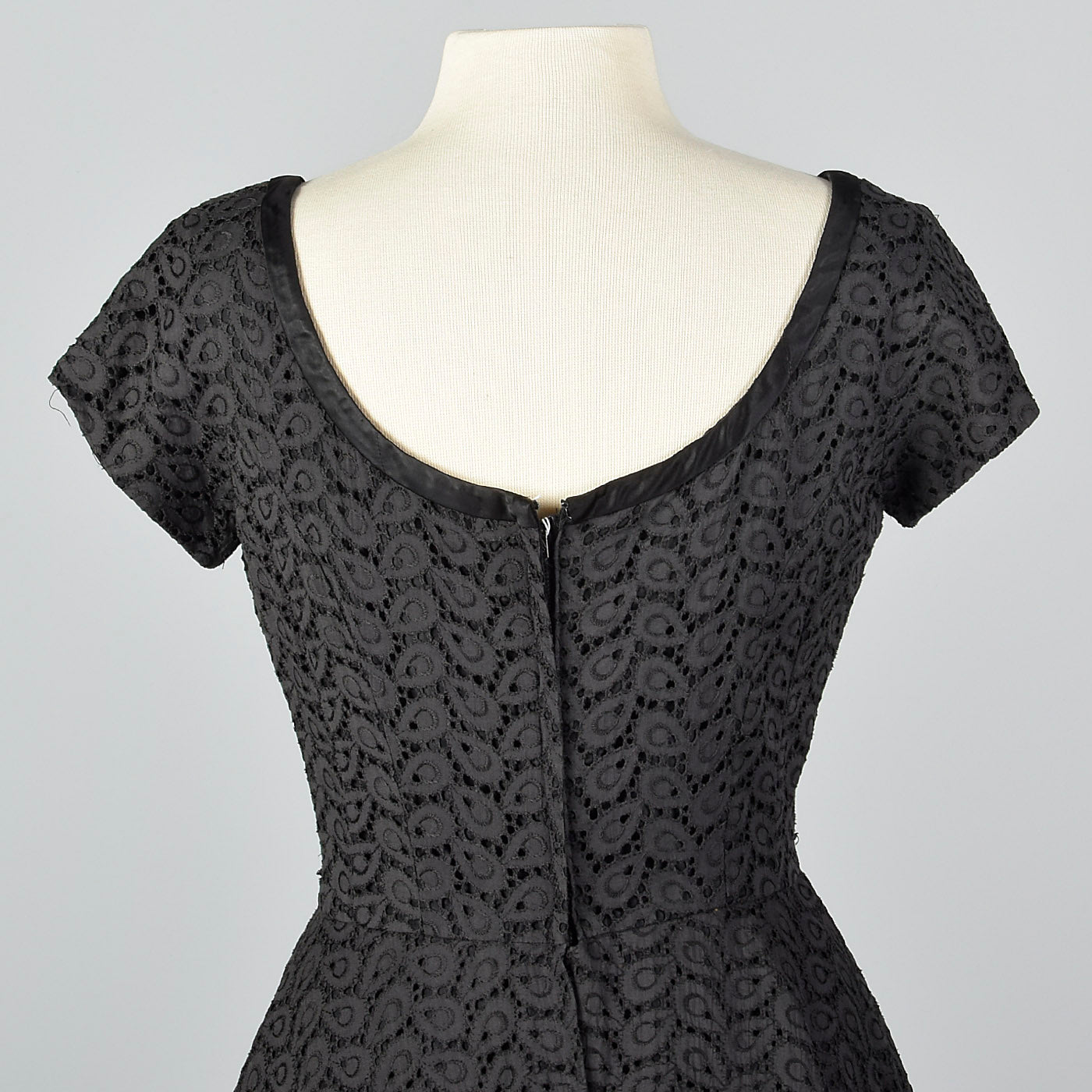 1950s Eyelet Overlay Dress with Large Peplum Waist