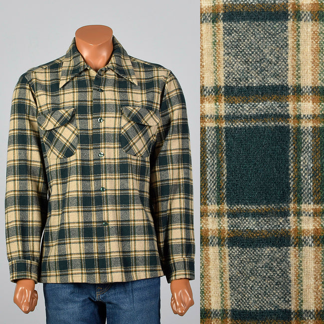 1960s Mens Pendleton Board Shirt in Green Plaid