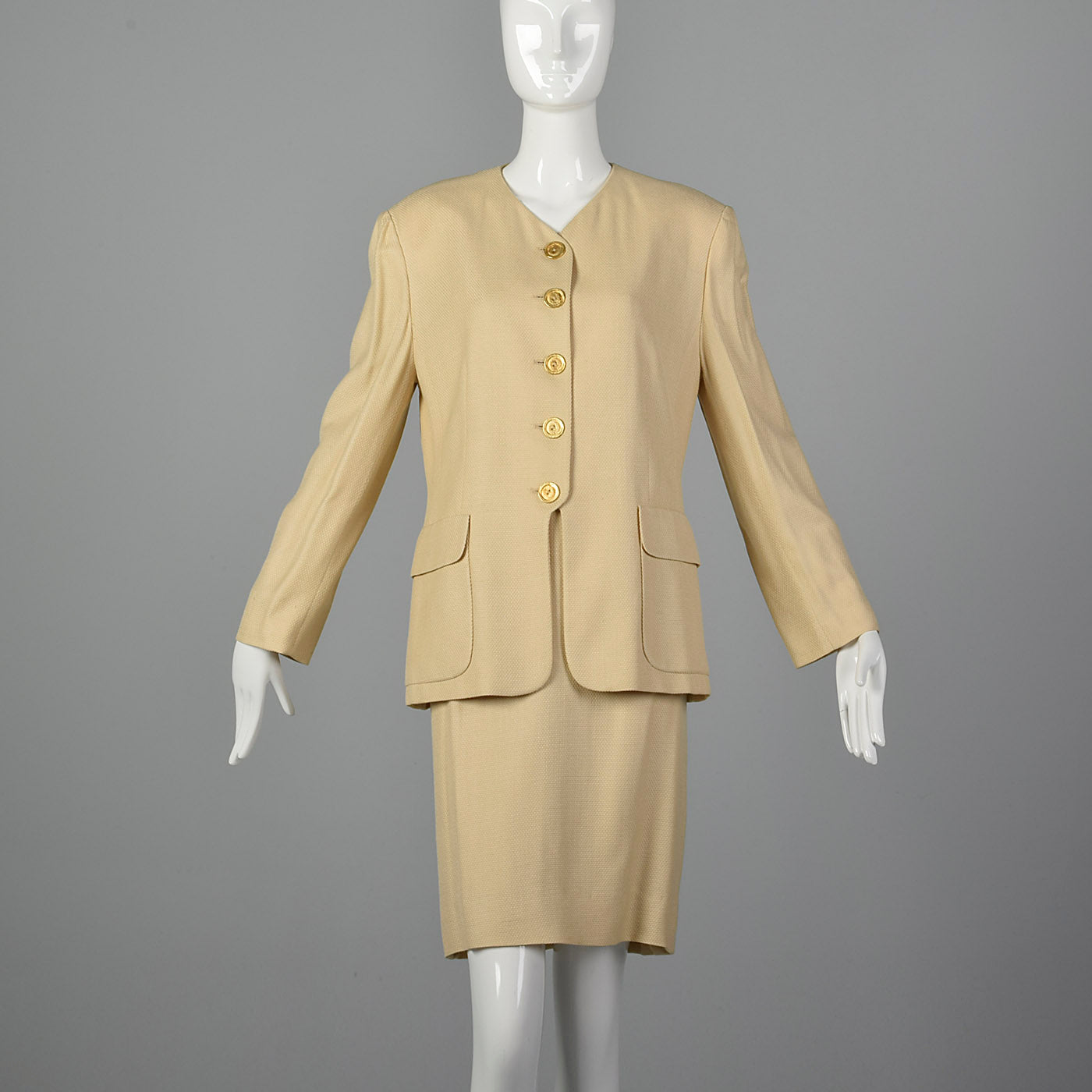 1980s Louis Feraud Beige Skirt Suit