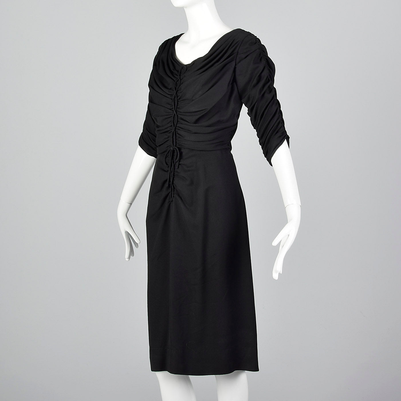 1950s Black Rayon Dress with Gathered Bodice