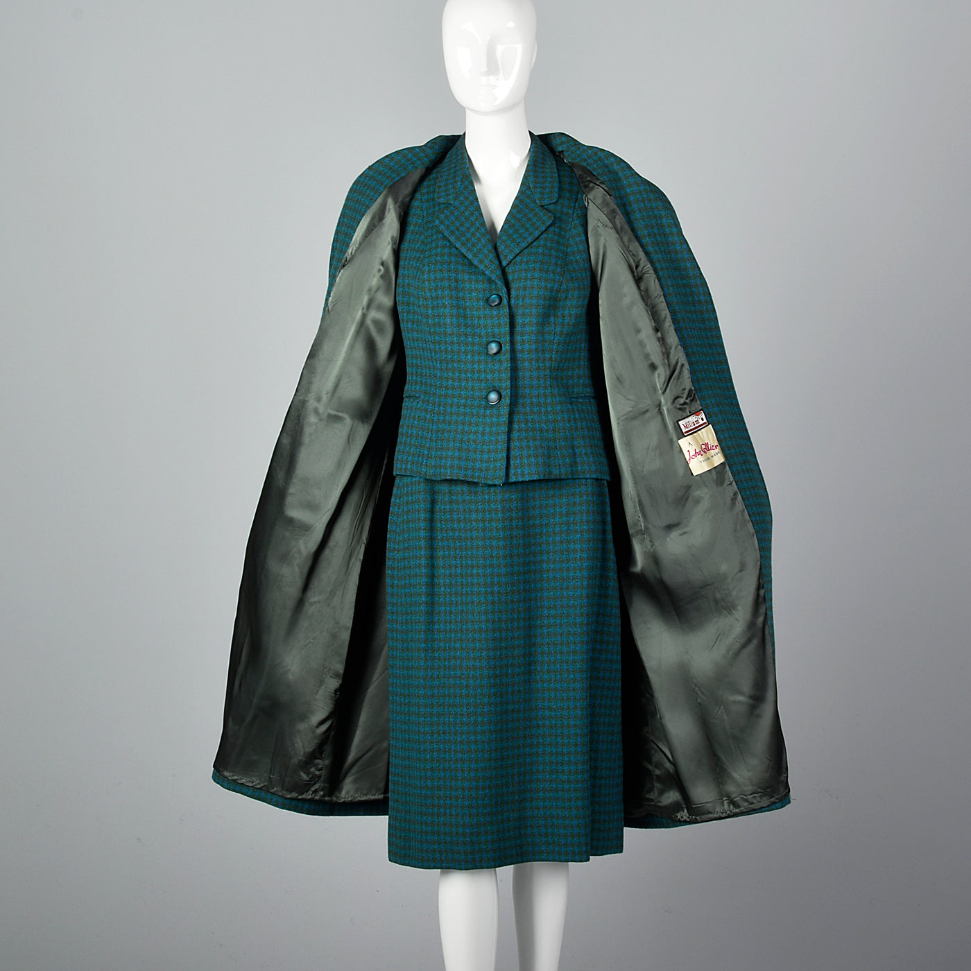 1960s Three Piece Skirt Suit with Matching Winter Coat in Green & Blue Wool