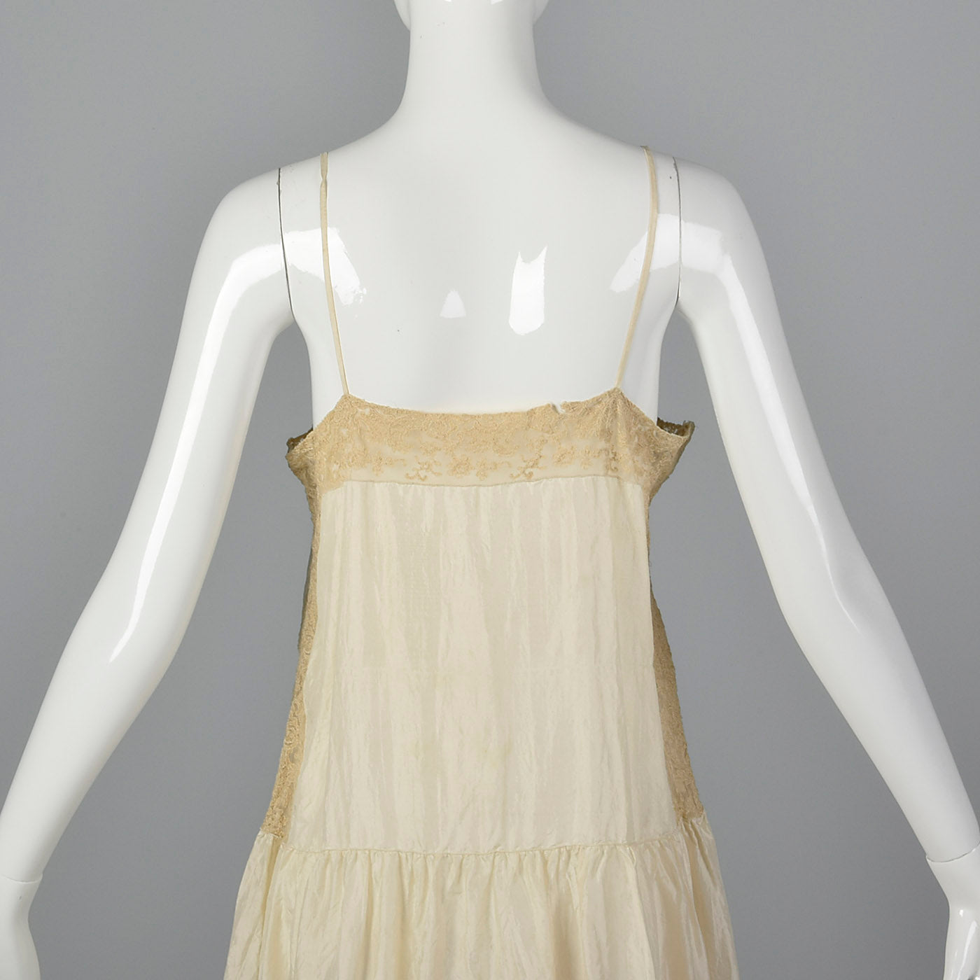 1920s Cream Silk Slip with Lace Trim