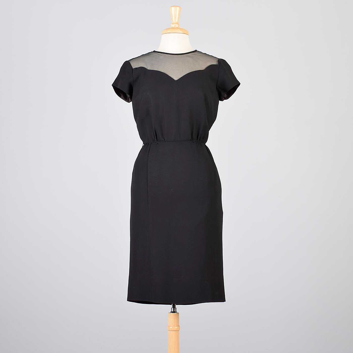 1960s Little Black Dress with Sheer Chiffon Shoulders