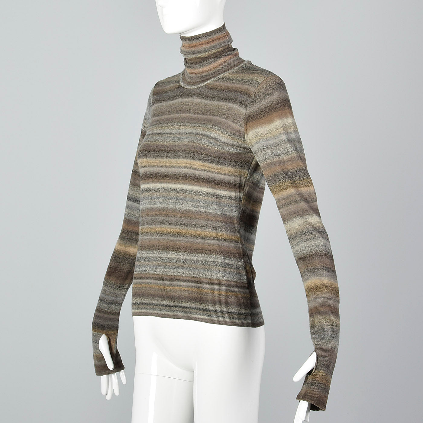 2000s Yves Saint Laurent Striped Knit Turtleneck