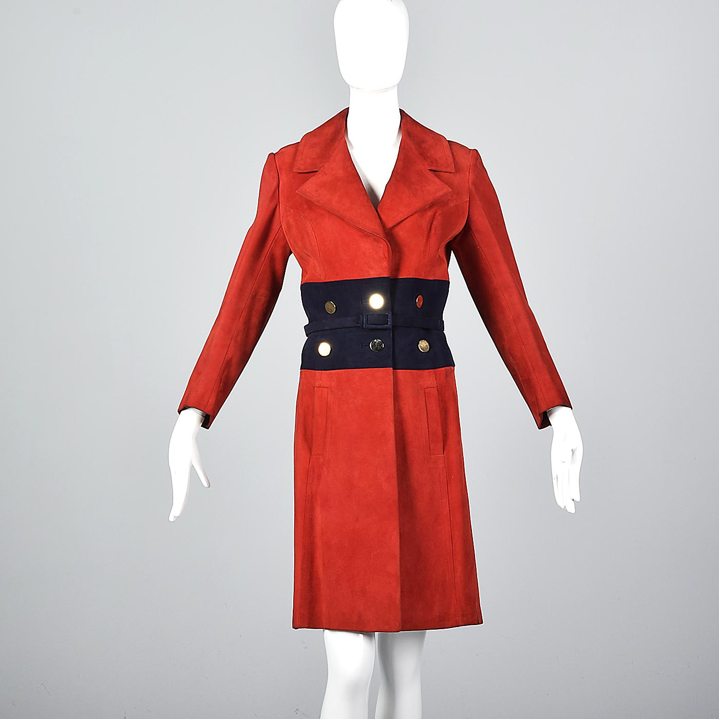 Bright Red Loewe Leather Trench Coat with Navy Blue Waist and Mod Gold Buttons