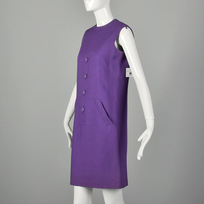Small 1960s Dress Geoffrey Beene Purple Mini Linen Shift Sleeveless Space Age Mod Designer Dress