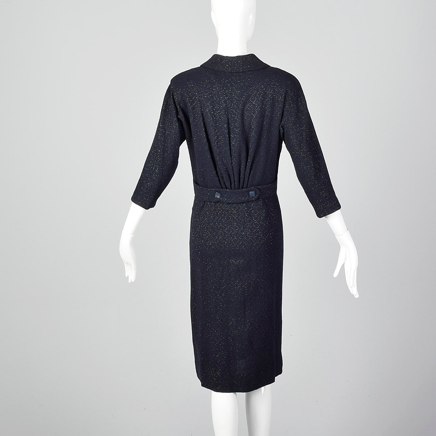 1950s Navy Blue Dress with Silver Glitter Textile