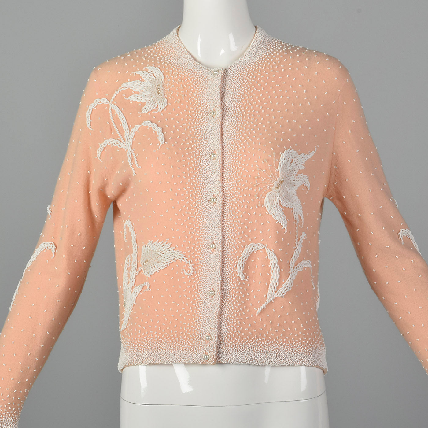 1960s Pink Beaded Cardigan