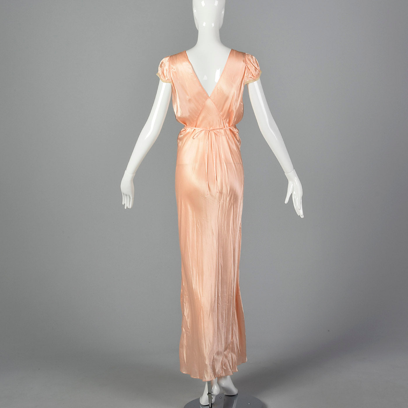 1930s Pink Satin Nightgown with Keyhole Bust