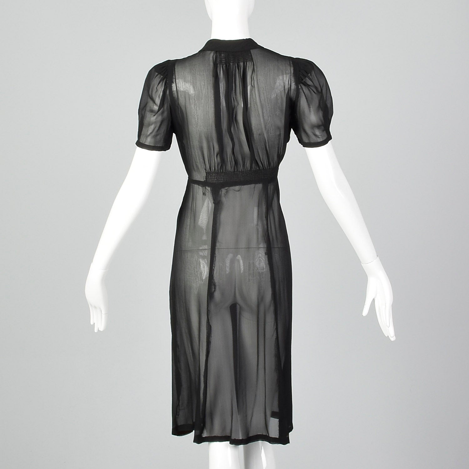 1930s Sheer Black Pleated Dress
