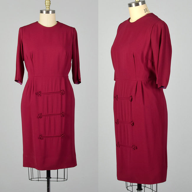 XL 1950s Magenta Dress with Piping Detail