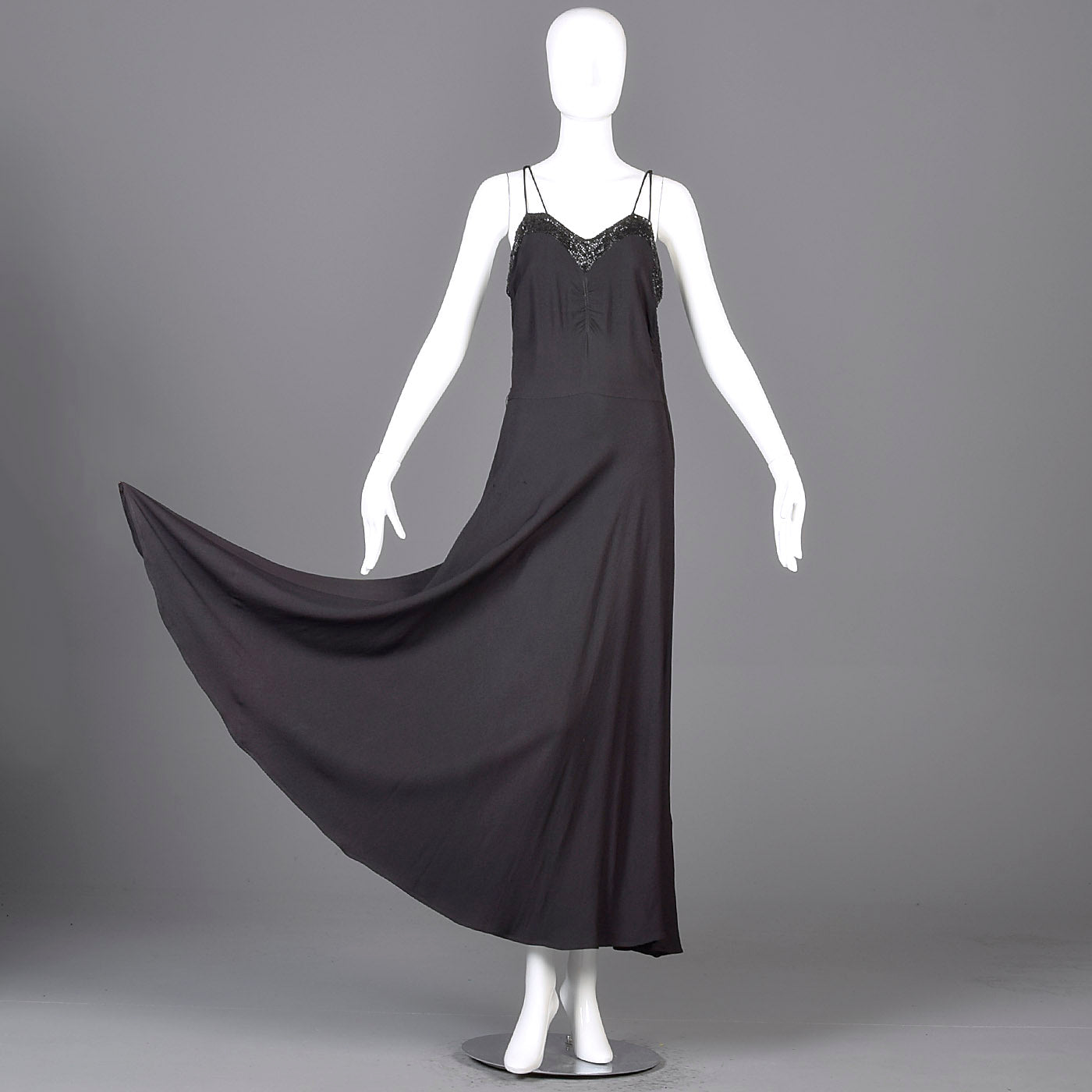 1930s Black Evening Gown with Sequined Bust