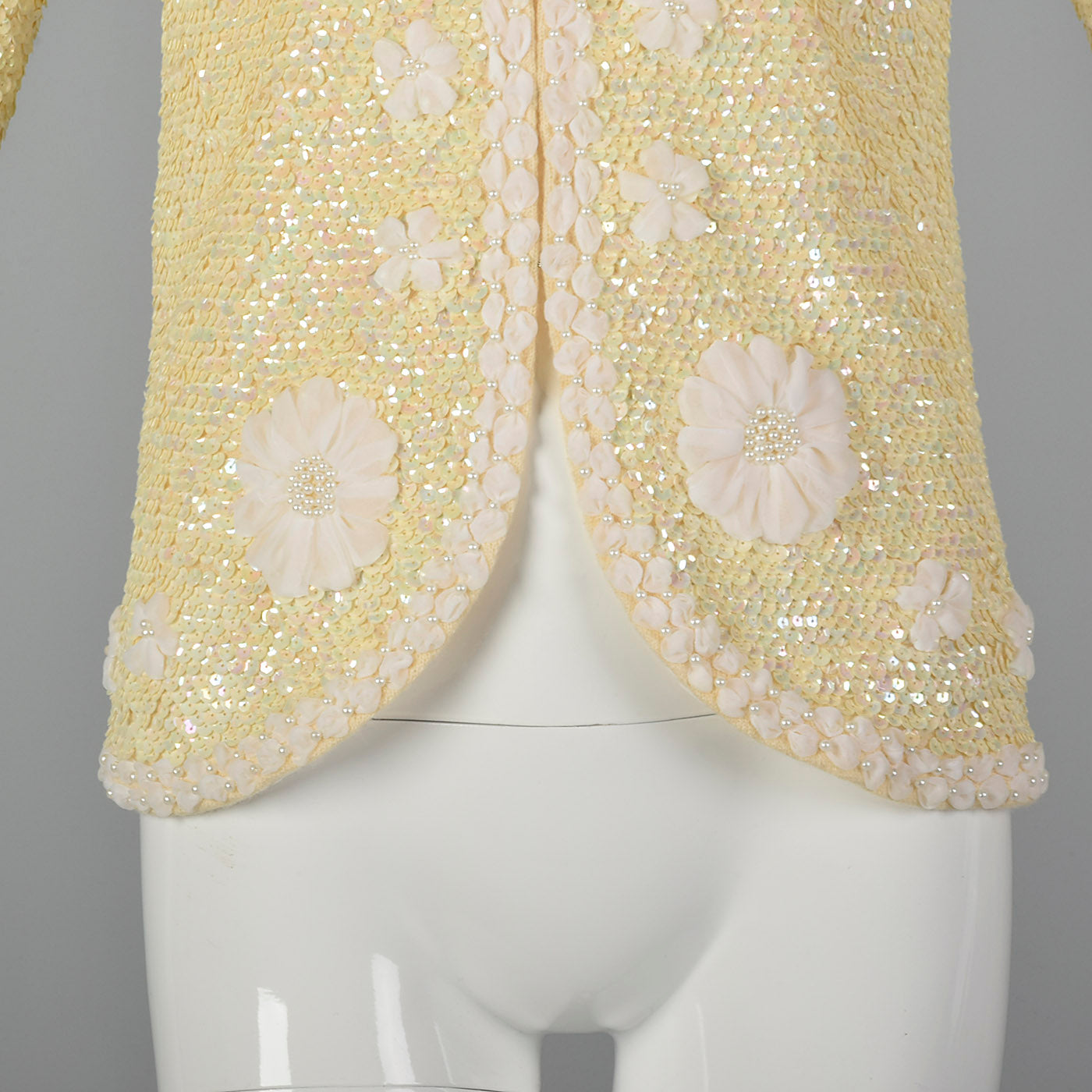 1960s Cardigan with Sequins and Woven Ribbon Design