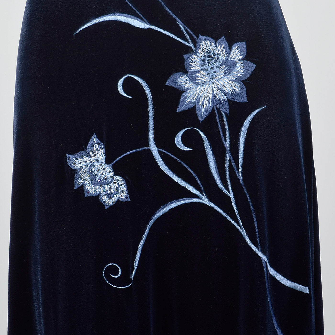 1990s Blue Velvet Evening Dress