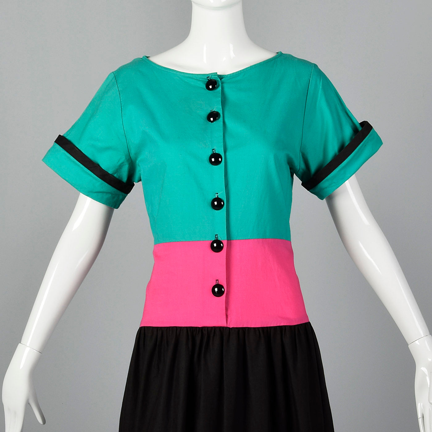 1990s Oscar de la Renta Neiman Marcus Color Block Cotton Dress