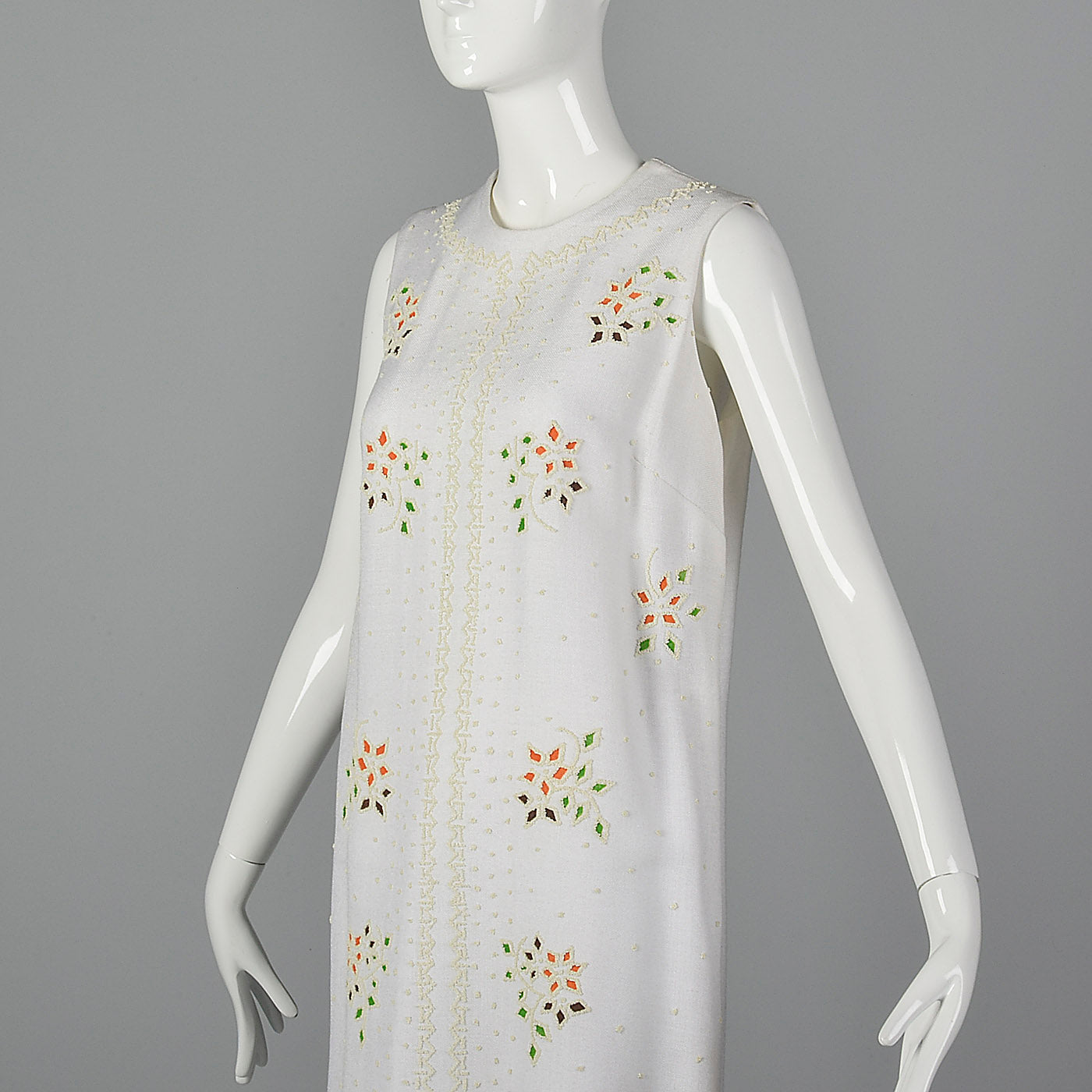 1960s White Shift Dress with Mosaic Beading
