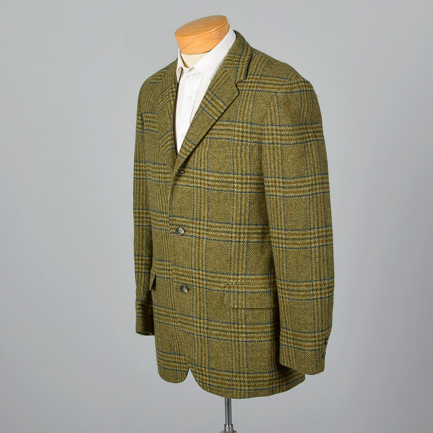 1960s Mens Green and Gold Plaid Jacket