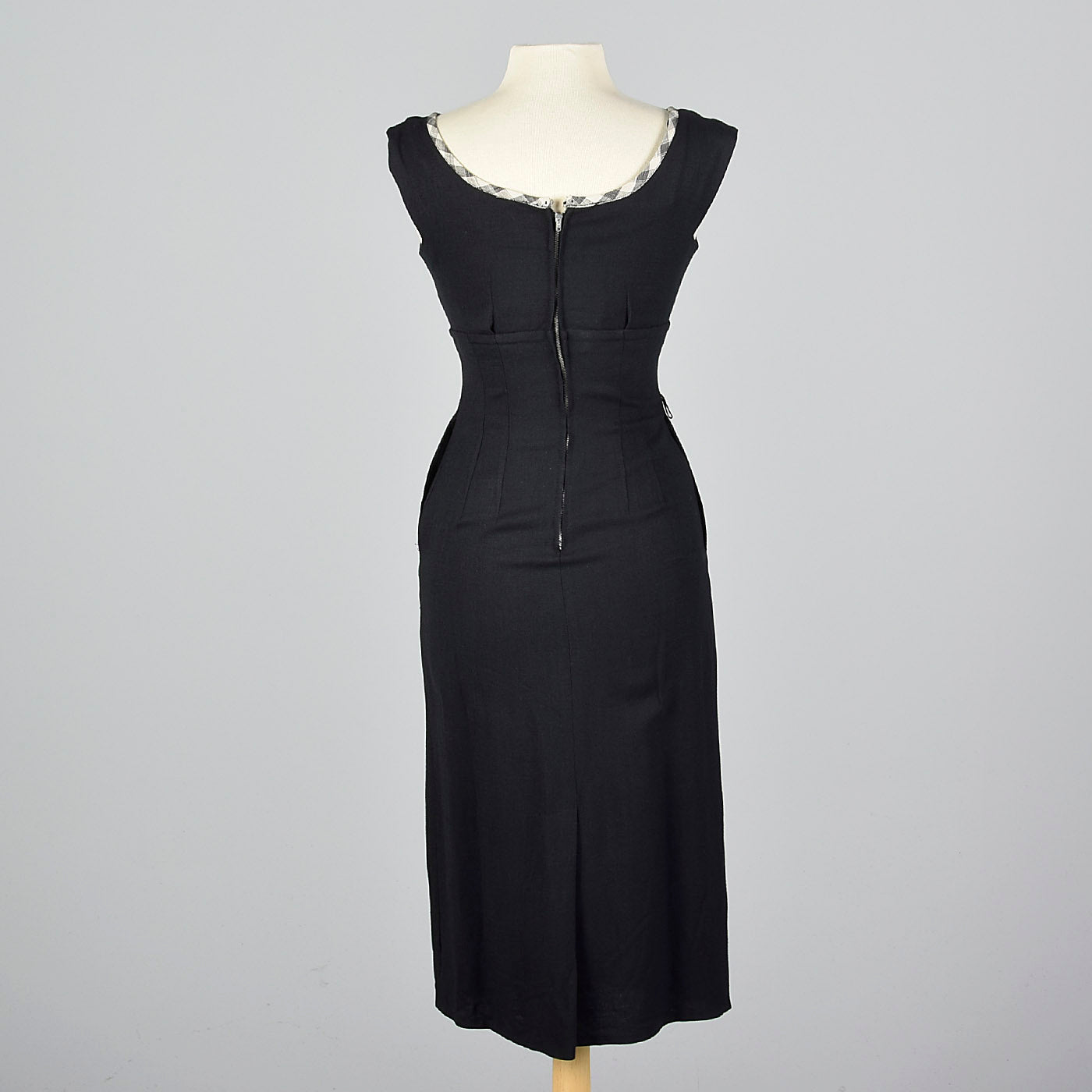 1950s Black Wiggle Dress with Gingham Trim and Jacket