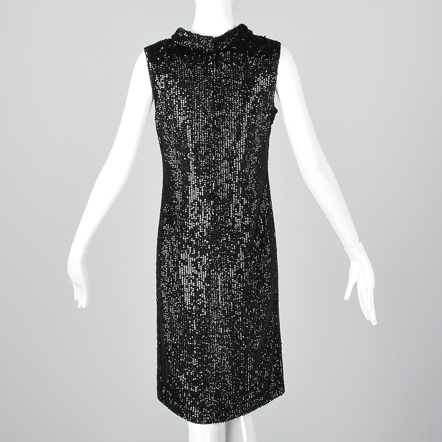 Small Valentina Ltd. 1960s Black Knit Sequin Dress