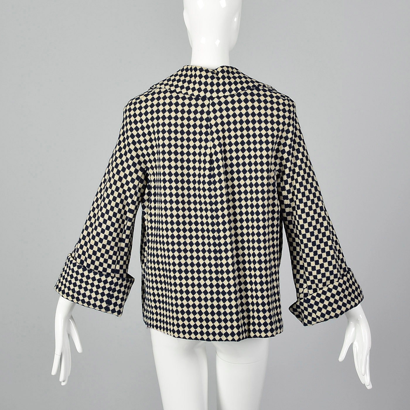 1950s Navy Blue and White Check Jacket
