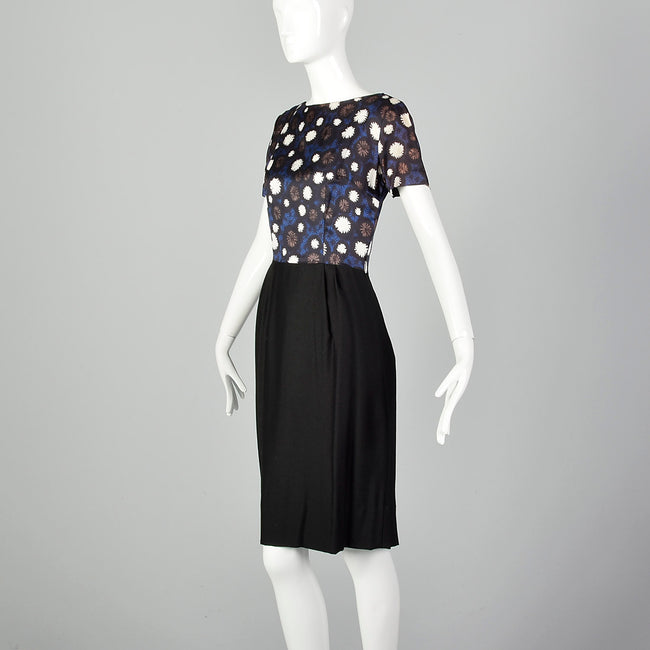 1960s Black and Floral Dress Set