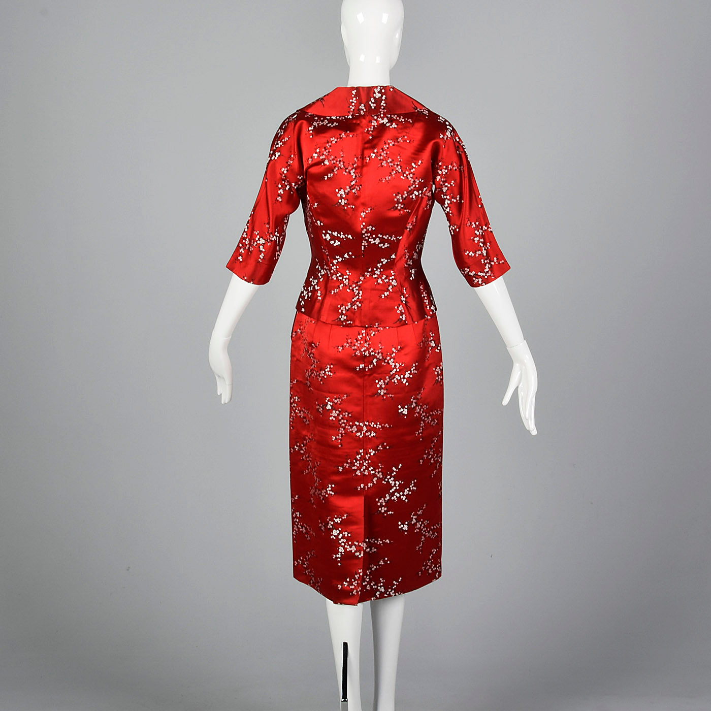 1960s Red Brocade Dress and Jacket Set