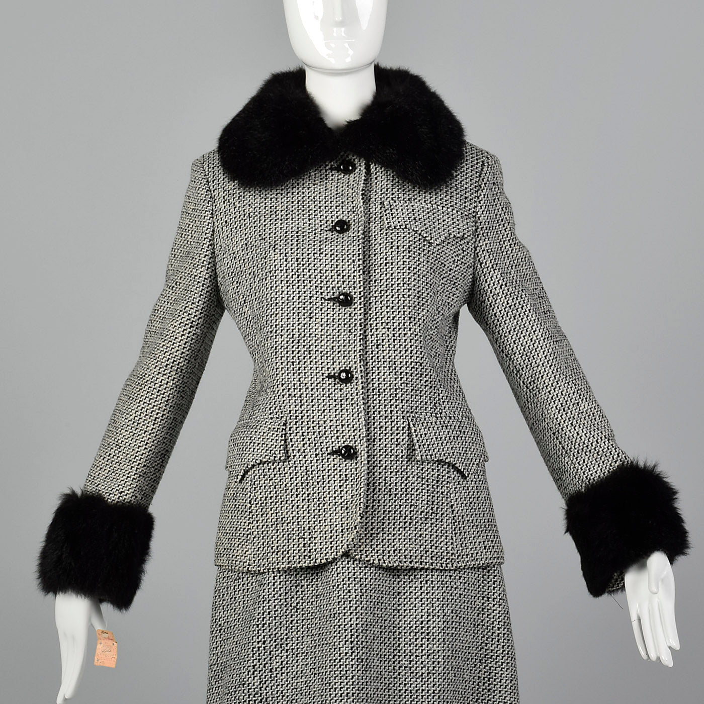 1970s Tweed Skirt Suit with Fur Trim