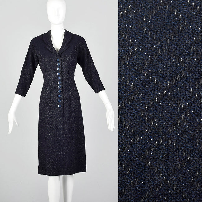 fdb0ec688f 1950s Navy Blue Dress with Silver Glitter Textile