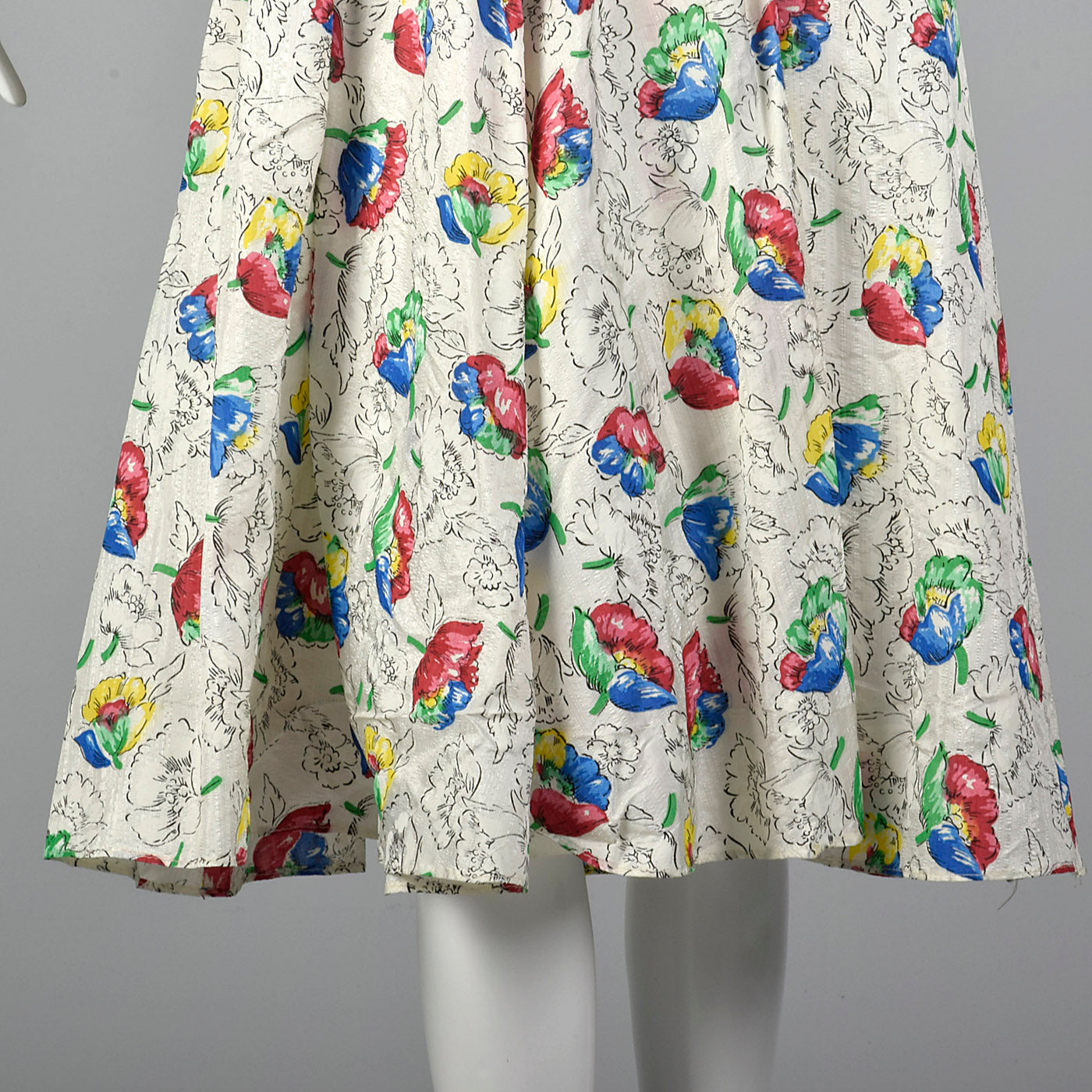 1950s White Summer Dress with Floral Print