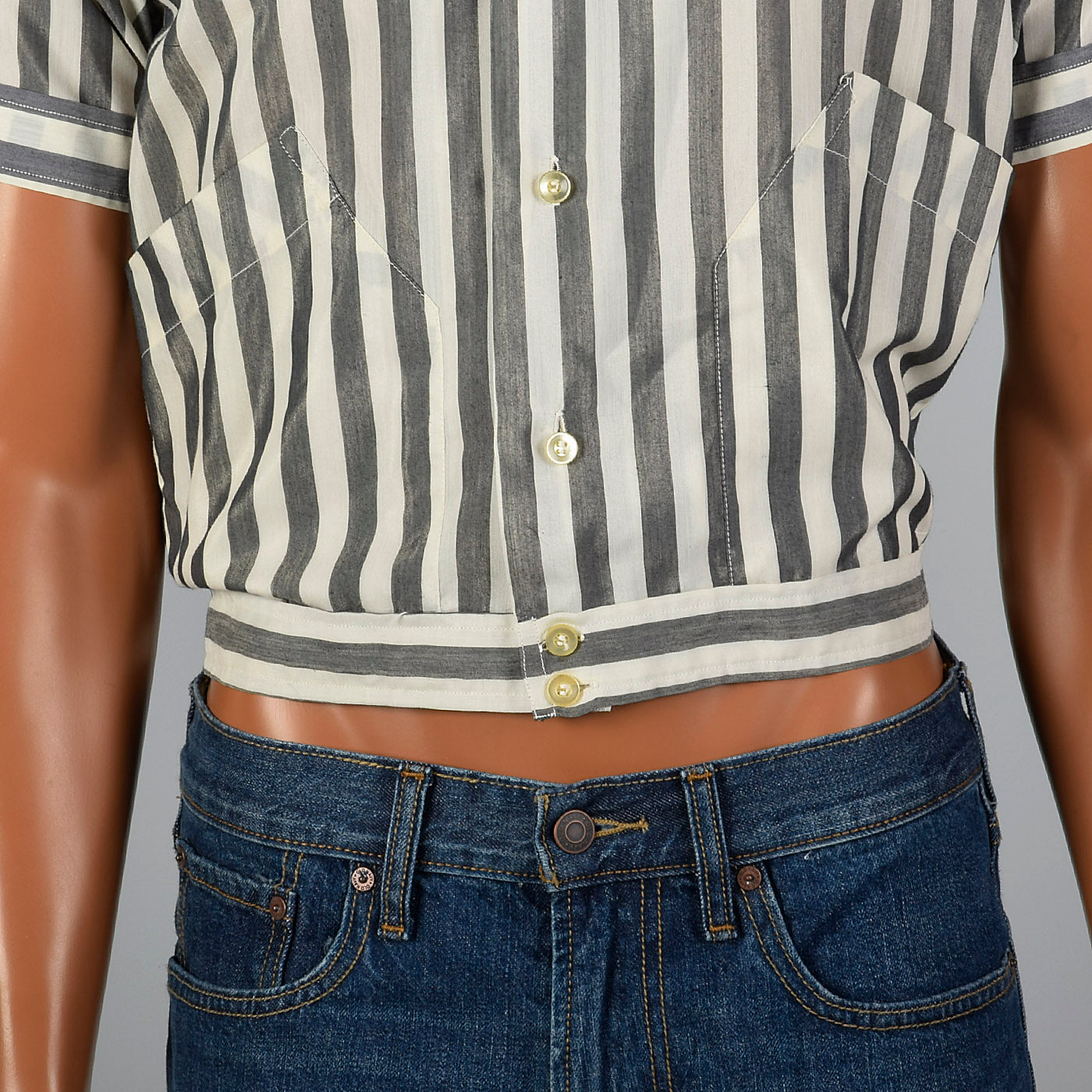 1950s Grey and White Striped Cropped Shirt